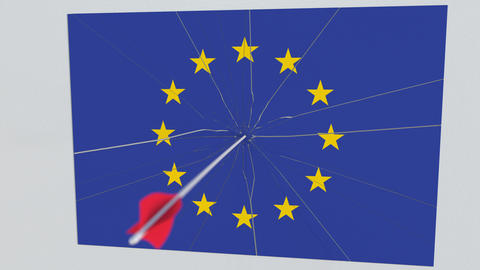 Flag of EU plate being hit by archery arrow. Conceptual 3D animation Footage