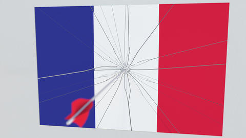Archery arrow hits flag of FRANCE plate. Conceptual 3D animation Live Action