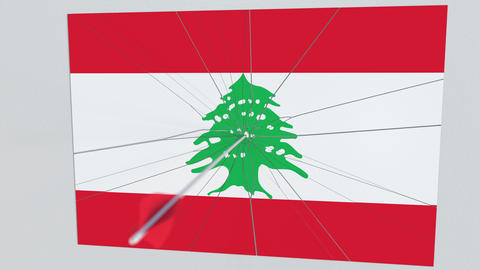 Archery arrow hits flag of LEBANON plate. National security breach related 3D Footage