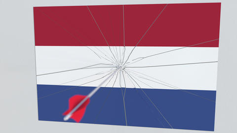 Archery arrow hits target featuring flag of NETHERLANDS. State security breach Footage