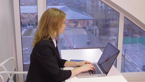 Business woman working in modern office Footage