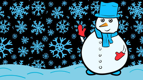 Christmas snowman and blue snow Stock Video Footage