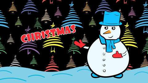 Christmas snowman and dark color fir-trees Stock Video Footage