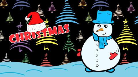Christmas snowman and dark color fir-trees Animation