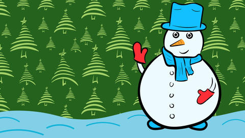 Christmas snowman and green fir-trees Stock Video Footage