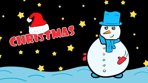 Christmas snowman and stars Animation