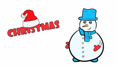 Christmas snowman on white Animation