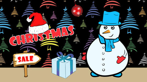 Christmas snowmen and sale color fir-tree Animation