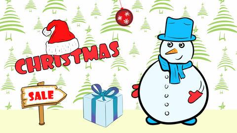 Christmas snowmen and sale green fir-tree Animation