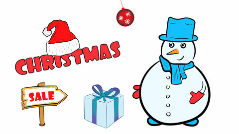 Christmas snowmen and sale on white Animation
