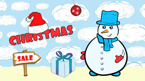 Christmas snowmen and sale with clouds Animation