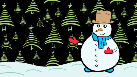 Snowman and green fir-tree dark Animation