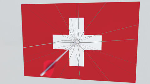 Flag of SWITZERLAND plate being hit by archery arrow. Conceptual 3D animation Footage