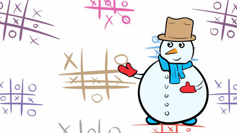 Snowman and tic-tac-toe Animation