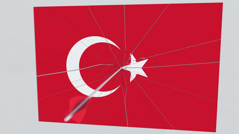 Archery arrow breaks plate featuring flag of TURKEY. 3D animation Live Action
