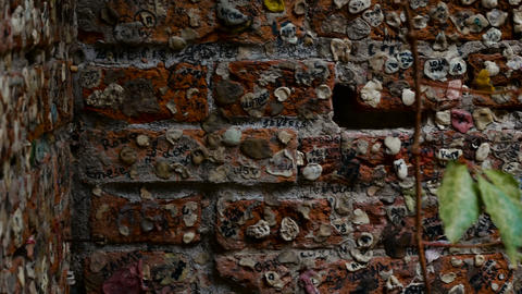 wall near the balcony of Juliet full of messages of love, destination for many Footage