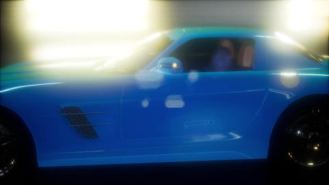 luxury sport car in dark studio with bright lights ビデオ