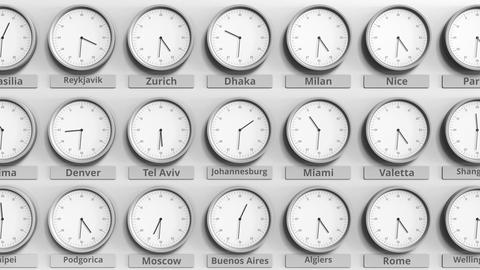 Round clock showing Johannesburg, South africa time within world time zones. 3D Footage