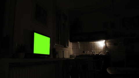 Dark Living Room With Green Screen Television. Sepia Tone Archivo