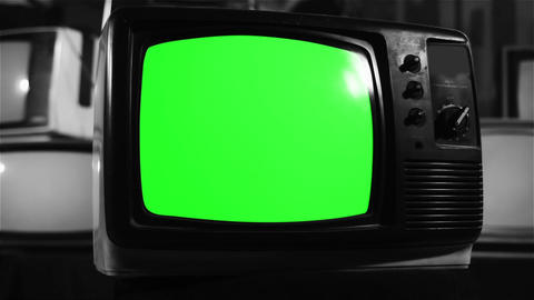 Vintage 80s Tv With Green Screen. Black and White Tone Live Action