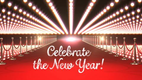 Celebrate New Year text with flashing lights and red carpet Animation