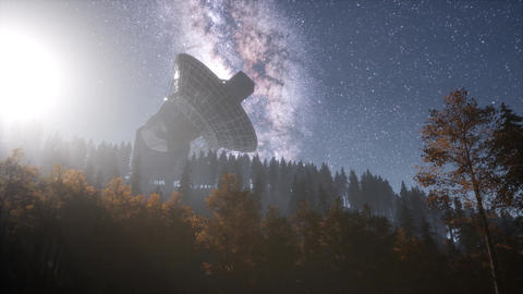 astronomical observatory under the night sky stars. hyperlapse ビデオ