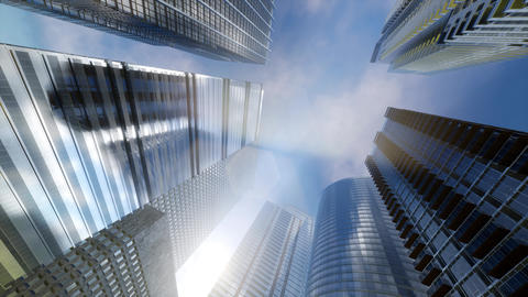 Windows of Skyscraper Business Office with blue sky ビデオ