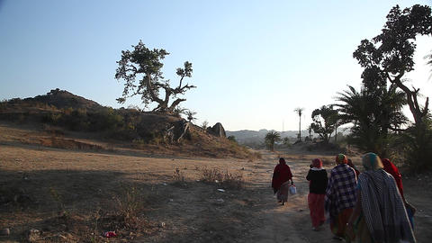 Indian women on rural road Live Action