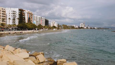 Cyprus Limassol coastline promenade day view GIF