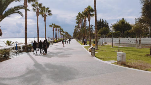 Limassol, Cyprus coastline promenade day view Footage