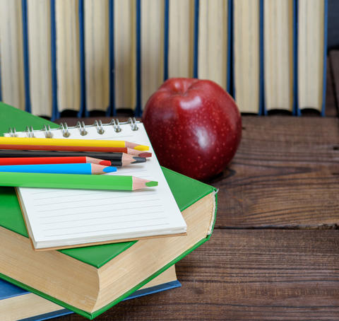 multicolored wooden pencils and a red apple フォト