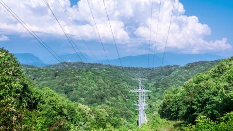 High voltage lines in the mountains Footage