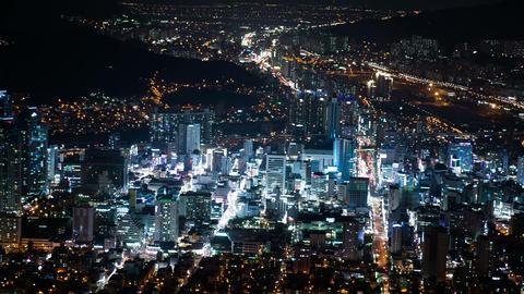 City Night View Timelapse, Busan, South Korea Footage