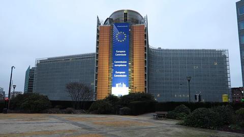 Brussels, Belgium European Parliament (Le Berlaymont) Schuman Roundabout view Footage