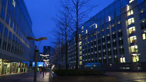 Brussels, Belgium. European Parliament complex, Espace Leopold, night Live Action