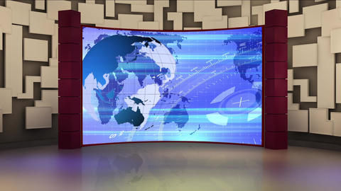 News TV Studio Set 159 - Virtual Background Loop Live Action