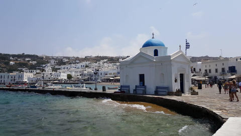 Mykonos Town, Greece - Church by the seaport in front of the town hall Live Action