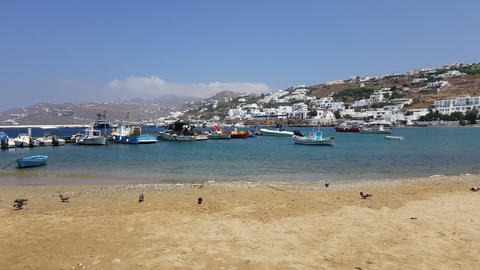 Mykonos, Greece (chora) - Little boats on the old port beach/ Footage