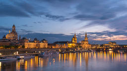 Dresden Germany time lapse 4K, city skyline day to night timelapse at Elbe River Footage