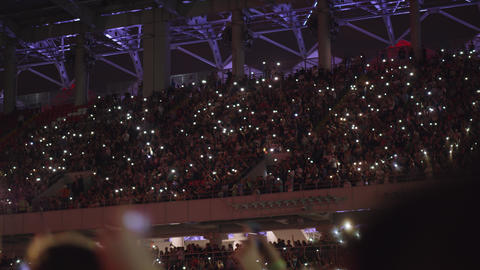 A beautiful view of crowded tribunes on a music concert Live Action