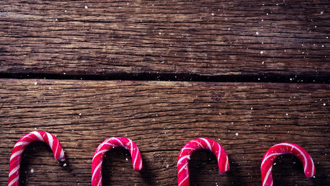 Falling snow with Christmas candy decorations Animation