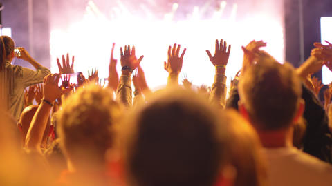 A happy crowd on an open air concert GIF