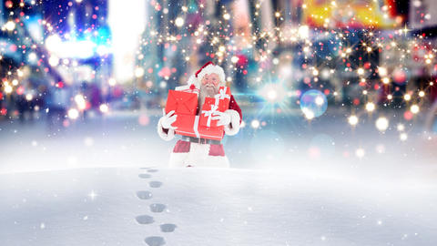 Santa clause walking through high snow combined with falling snow Animation