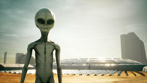 Alien returns to base after inspecting solar panels. Super realistic concept CG動画素材