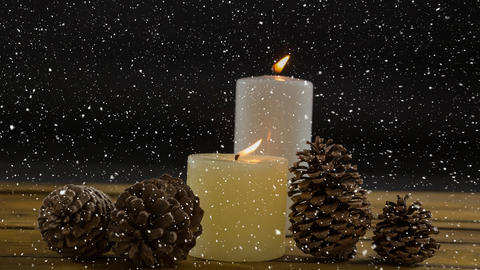 Falling snow with Christmas candles decoration Animation