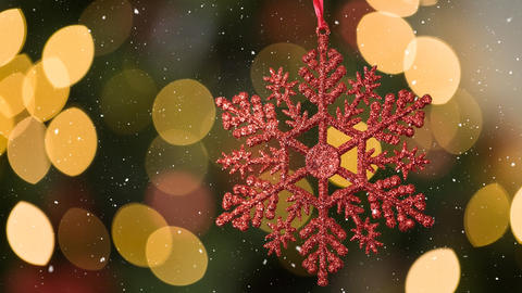 Falling snow and Christmas snowflake decoration Animation