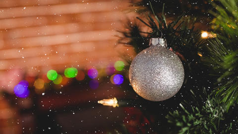 Falling snow with Christmas decoration Animation