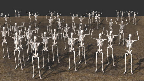 Large Group of Skeletons, Standing in Dirt GIF