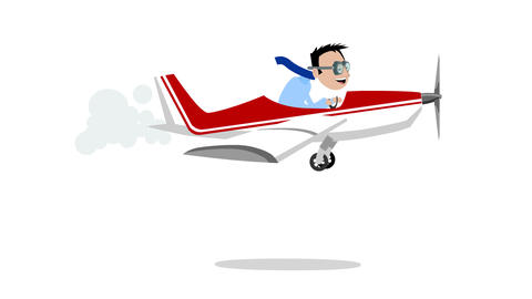 Man flies an airplane Animación