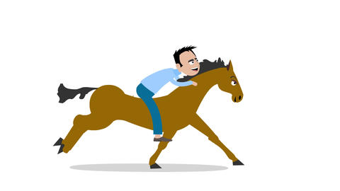 Man rides a galloping Animation